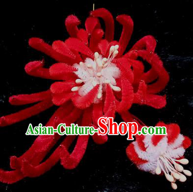 Chinese Handmade Qing Dynasty Red Velvet Chrysanthemum Hairpins Traditional Ancient Court Hanfu Hair Accessories for Women