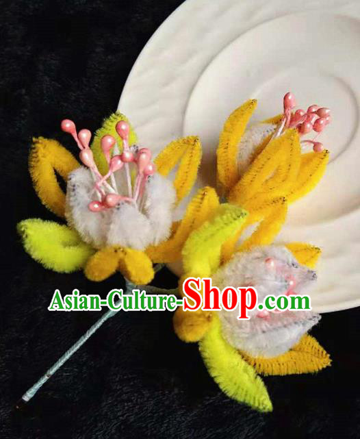 Chinese Handmade Qing Dynasty Court Yellow Velvet Forsythia Hairpins Traditional Ancient Hanfu Hair Accessories for Women