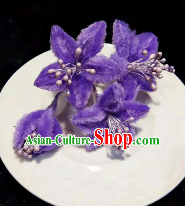 Chinese Handmade Qing Dynasty Court Purple Velvet Campsis Hairpins Traditional Ancient Hanfu Hair Accessories for Women