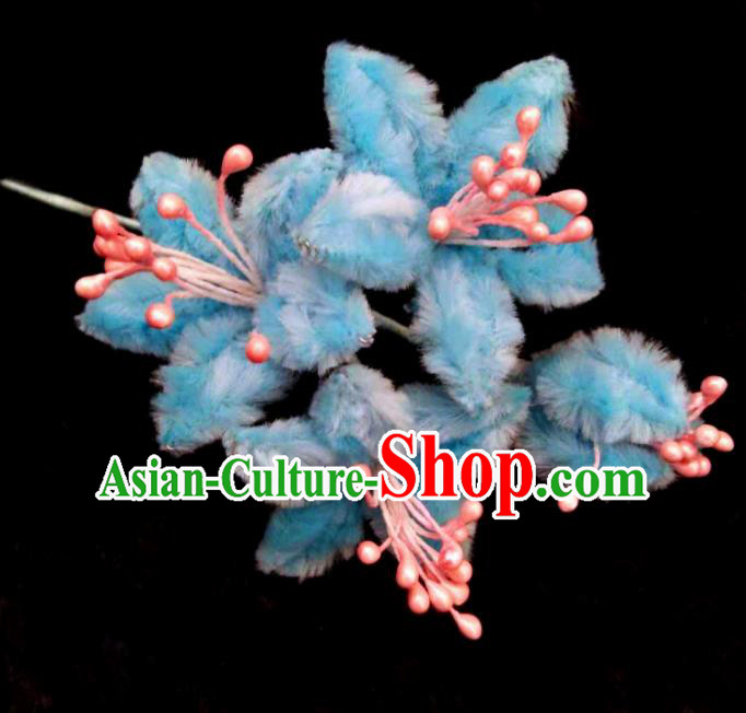 Chinese Handmade Qing Dynasty Court Blue Velvet Campsis Hairpins Traditional Ancient Hanfu Hair Accessories for Women