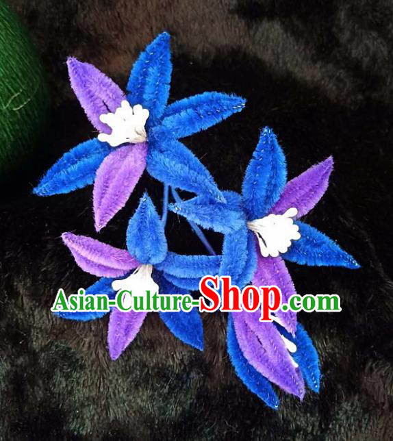Chinese Handmade Qing Dynasty Court Blue Velvet Lily Flowers Hairpins Traditional Ancient Hanfu Hair Accessories for Women