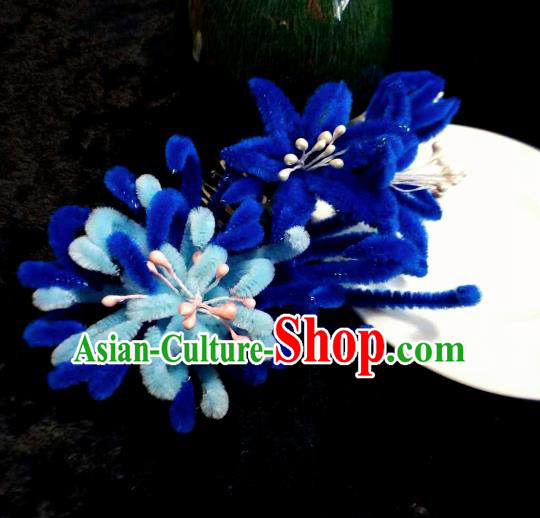 Chinese Handmade Qing Dynasty Court Blue Velvet Chrysanthemum Hairpins Traditional Ancient Hanfu Hair Accessories for Women
