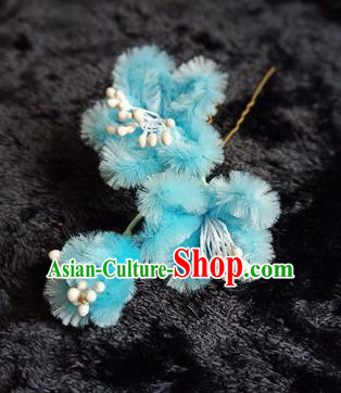 Chinese Handmade Qing Dynasty Court Blue Velvet Plum Hairpins Traditional Ancient Hanfu Hair Accessories for Women