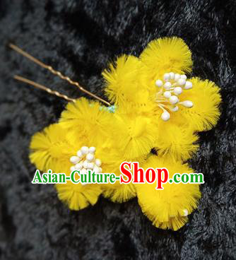 Chinese Handmade Qing Dynasty Court Yellow Plum Velvet Hairpins Traditional Ancient Hanfu Hair Accessories for Women