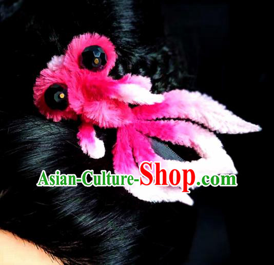 Chinese Ancient Court Rosy Velvet Goldfish Hair Claw Hairpins Traditional Hanfu Handmade Hair Accessories for Women