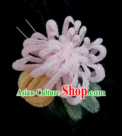 Chinese Ancient Qing Dynasty Court Pink Velvet Chrysanthemum Hairpins Traditional Hanfu Handmade Hair Accessories for Women