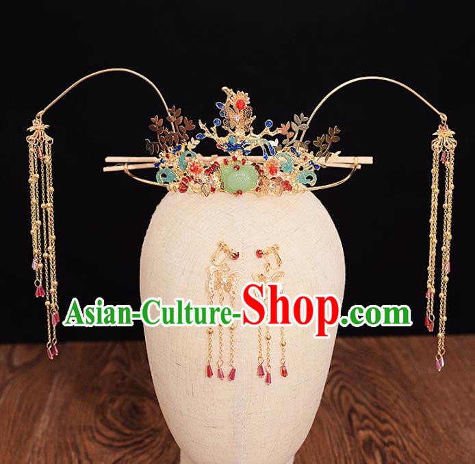 Chinese Ancient Bride Cloisonne Phoenix Coronet Tassel Hairpins Traditional Hanfu Wedding Hair Accessories for Women