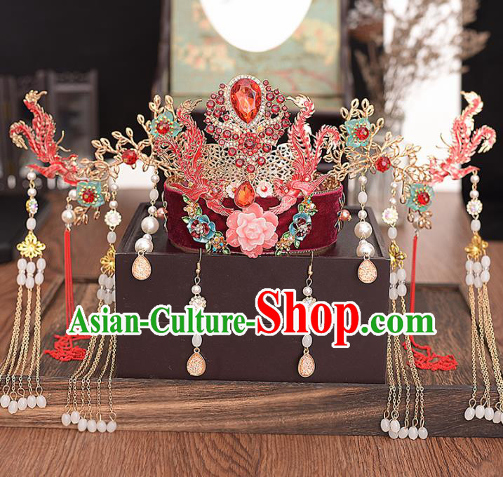 Chinese Ancient Bride Red Phoenix Coronet Hairpins Traditional Hanfu Wedding Hair Accessories for Women