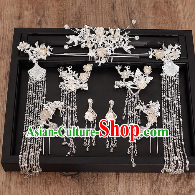 Chinese Ancient Bride Hair Comb Tassel Hairpins Traditional Hanfu Wedding Hair Accessories for Women