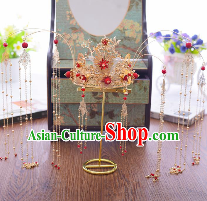 Chinese Ancient Bride Jade Butterfly Phoenix Coronet Hairpins Traditional Hanfu Wedding Hair Accessories for Women