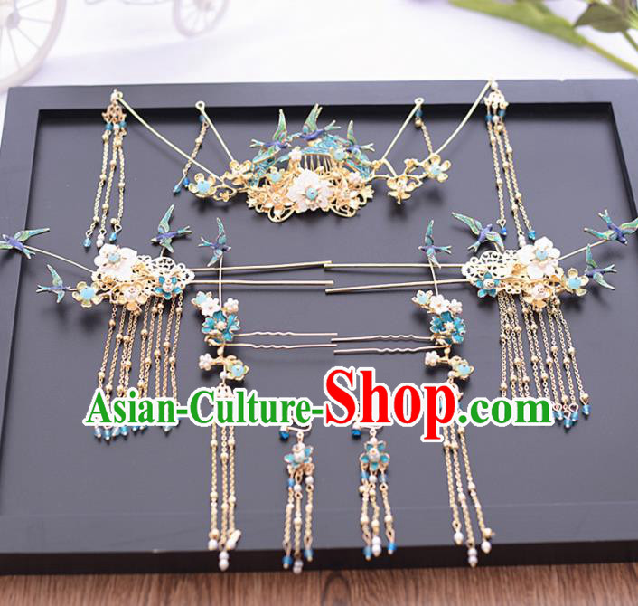 Chinese Ancient Bride Blue Birds Hair Comb Tassel Hairpins Traditional Hanfu Wedding Hair Accessories for Women