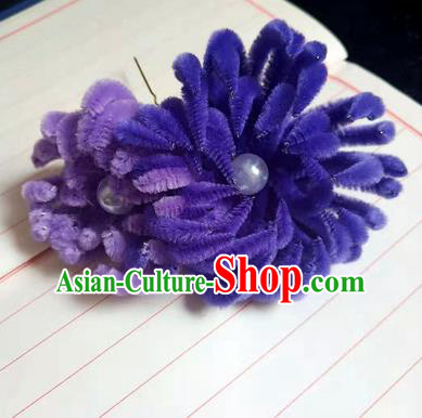 Chinese Ancient Court Purple Velvet Chrysanthemum Hairpins Traditional Hanfu Handmade Hair Accessories for Women