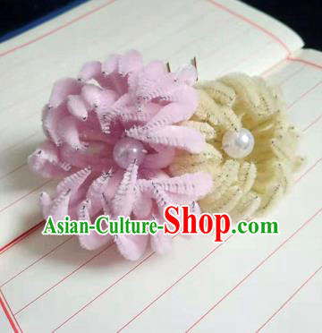 Chinese Ancient Court Yellow and Pink Velvet Chrysanthemum Hairpins Traditional Hanfu Handmade Hair Accessories for Women