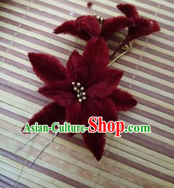 Chinese Ancient Court Wine Red Velvet Lily Flowers Hairpins Traditional Hanfu Handmade Hair Accessories for Women