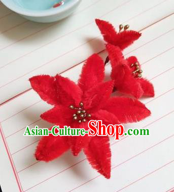 Chinese Ancient Court Red Velvet Lily Flowers Hairpins Traditional Hanfu Handmade Hair Accessories for Women