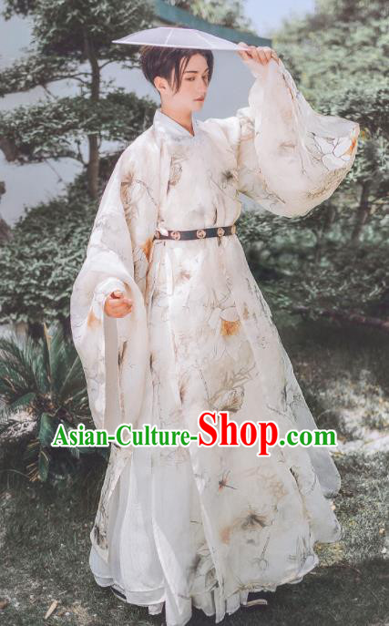 Traditional Chinese Ming Dynasty Swordsman Hanfu Clothing Ancient Nobility Childe Replica Costumes for Men