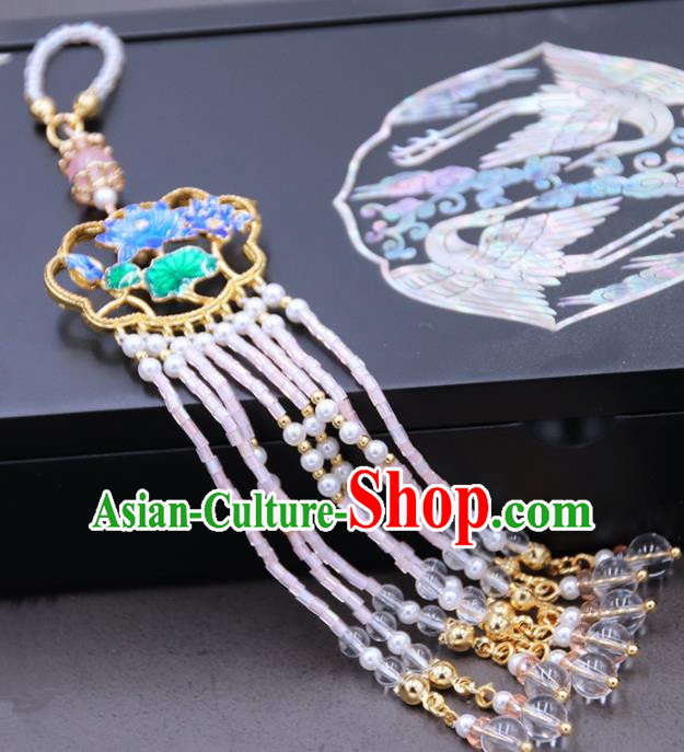 Chinese Ancient Court Tassel Blueing Brooch Pendant Traditional Princess Hanfu Breastpin Accessories for Women