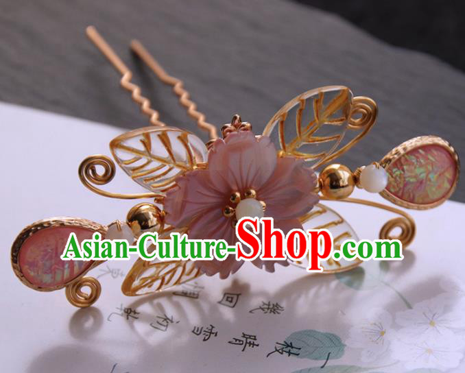 Chinese Ancient Princess Shell Hair Clip Hairpins Traditional Handmade Hanfu Hair Accessories for Women