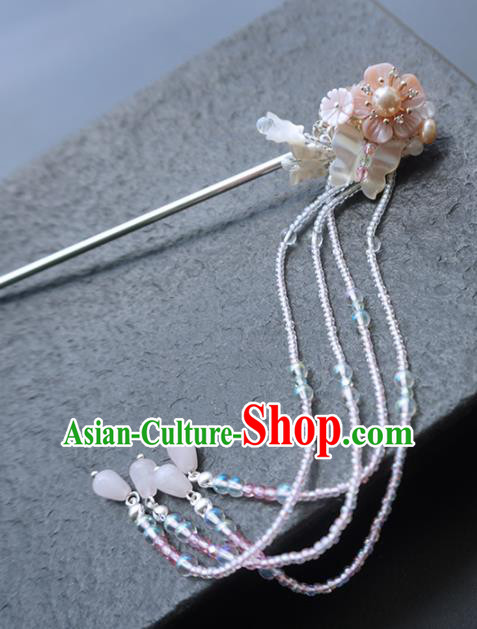 Chinese Ancient Princess Hairpins Shell Tassel Hair Clip Traditional Handmade Hanfu Hair Accessories for Women