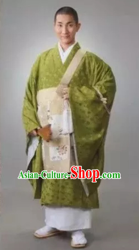 Ancient Asian Japanese Light Green Shinto Enlightenment Robes Monk Costumes