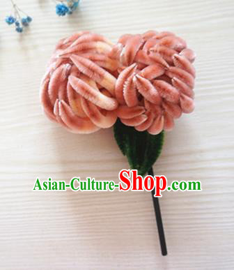 Ancient Chinese Qing Dynasty Pink Velvet Chrysanthemum Hairpins Traditional Hanfu Court Hair Accessories for Women