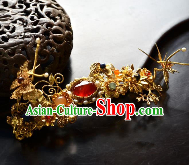 Chinese Ancient Princess Agate Hair Claw Hairpins Traditional Handmade Hanfu Hair Accessories for Women