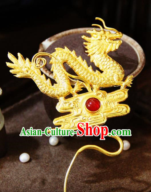 Ancient Chinese Ming Dynasty Golden Dragon Hairpins Traditional Hanfu Court Hair Accessories for Women
