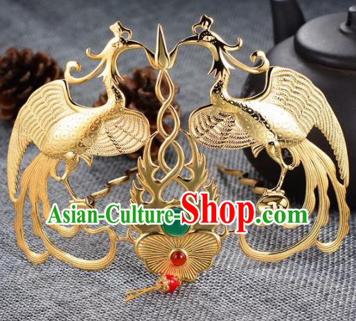 Chinese Ancient Princess Phoenix Hair Crown Golden Hairpins Traditional Handmade Hanfu Hair Accessories for Women