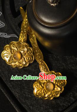 Ancient Chinese Ming Dynasty Empress Golden Hairpins Traditional Hanfu Court Hair Accessories for Women