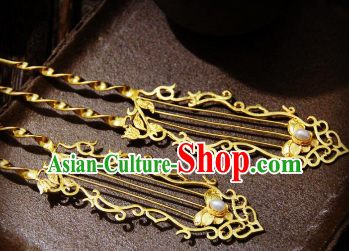 Ancient Chinese Ming Dynasty Princess Pearl Golden Hairpins Traditional Hanfu Court Hair Accessories for Women