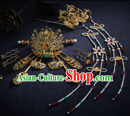 Ancient Chinese Ming Dynasty Lotus Hair Crown Tassel Hairpins Traditional Hanfu Court Hair Accessories Complete Set for Women