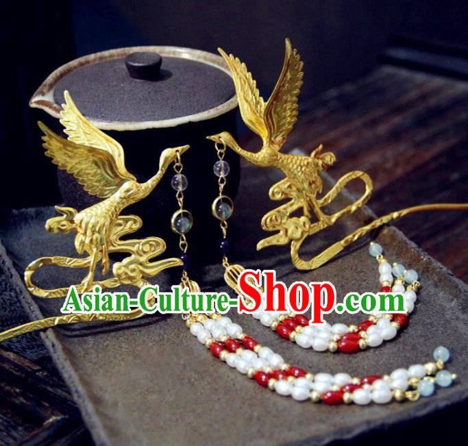 Ancient Chinese Ming Dynasty Queen Phoenix Tassel Hairpins Traditional Hanfu Court Hair Accessories for Women