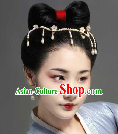 Chinese Ancient Princess Pearls Tassel Hair Clasp Hairpins Traditional Handmade Hanfu Hair Accessories for Women
