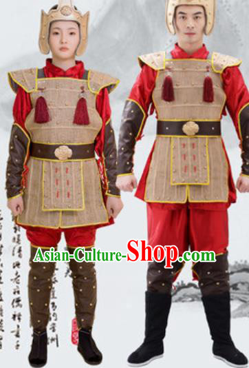 Traditional Chinese Ancient Drama Costumes Chinese Qin Dynasty Warrior Helmet and Armour for Men