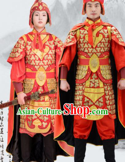 Traditional Chinese Ancient Drama Costumes Chinese Ming Dynasty Warrior Red Helmet and Armour for Men