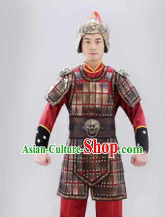 Traditional Chinese Ancient Drama Soldier Costumes Chinese Three Kingdoms Period Warrior Helmet and Armour for Men