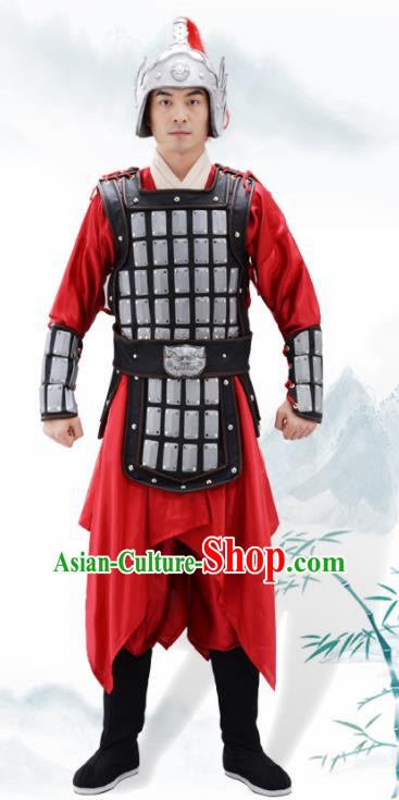 Traditional Chinese Han Dynasty Warrior Argent Helmet and Armour Ancient Drama General Costumes for Men