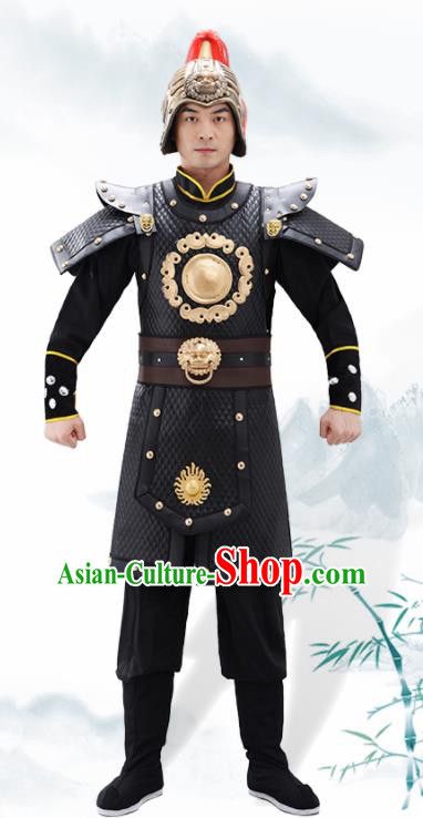 Traditional Chinese Han Dynasty Warrior Black Helmet and Armour Ancient Drama General Costumes for Men