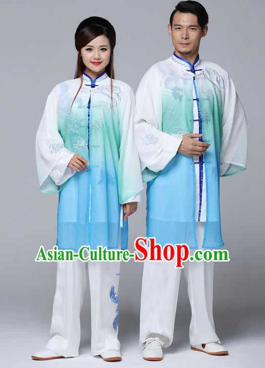 Traditional Chinese Martial Arts Competition Gradient Blue Uniforms Kung Fu Tai Chi Training Costume for Adults