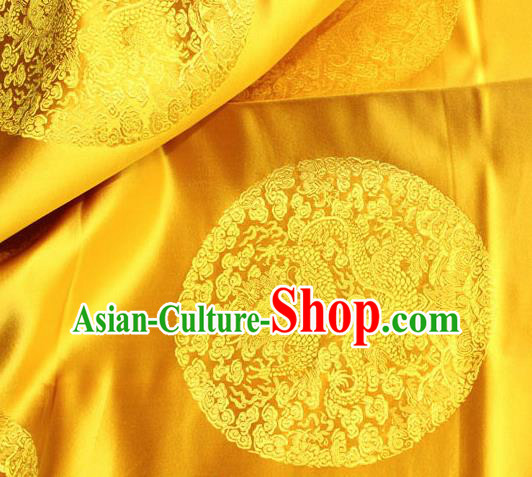 Asian Chinese Traditional Round Dragon Pattern Design Yellow Brocade Fabric Cheongsam Silk Material